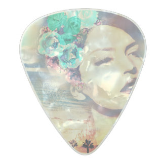 Rockabilly California Palms Coastal Summer Woman Pearl Celluloid Guitar Pick