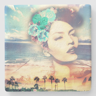 Rockabilly California Palms Coastal Summer Woman Stone Coaster