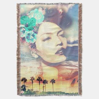 Rockabilly California Palms Coastal Summer Woman Throw Blanket