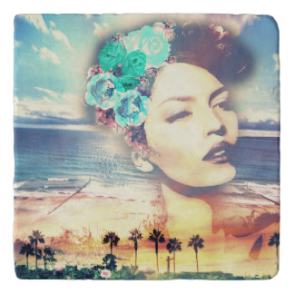 Rockabilly California Palms Coastal Summer Woman Trivet
