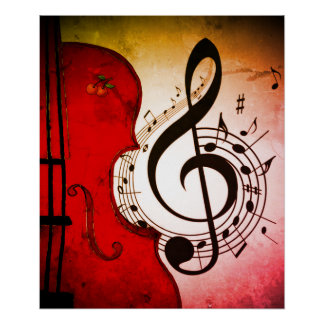 rockabilly cello/violin art print for poster