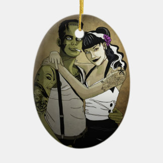 Rockabilly Couple Ceramic Oval Decoration