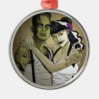 Rockabilly Frank and Bride Silver-Colored Round Decoration