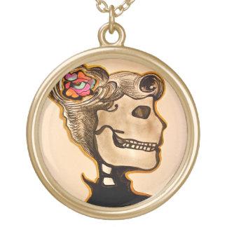Rockabilly Girl Skull Necklace