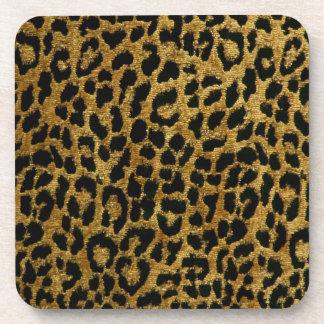 Rockabilly Gold Black Leopard Print Cork Coaster