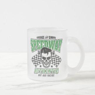 Rockabilly Hot Rod Racer Skull Frosted Glass Coffee Mug