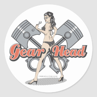 Rockabilly pinup girl with pistons round stickers