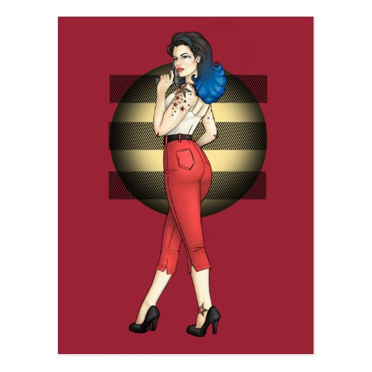 Rockabilly Pinup with Star Tattoos Postcard