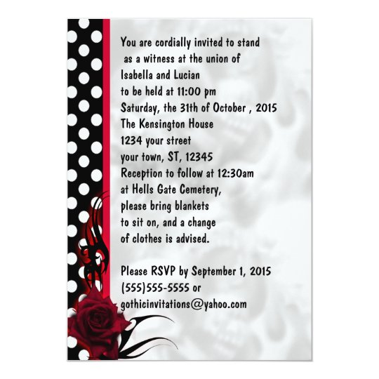 Rockabilly Roses and Polka Dots Goth Wedding Card
