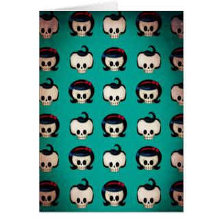 Rockabilly Skulls Pattern Greeting Card