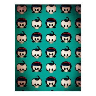 Rockabilly Skulls Pattern Postcard