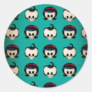 Rockabilly Skulls Pattern Round Stickers