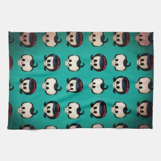 Rockabilly Skulls Pattern Tea Towel