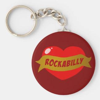 Rockabilly Tattoo Heart Basic Round Button Key Ring