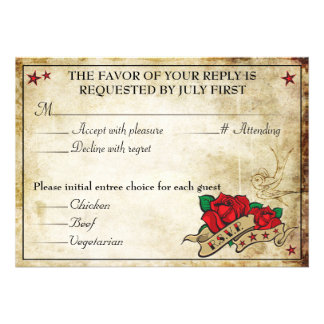 Rockabilly Tattoo Rose Rocker RSVP Cards
