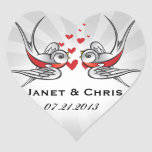 Rockabilly Tattoo Swallows Wedding Save the Date Heart Sticker