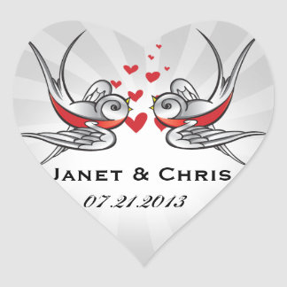 Rockabilly Tattoo Swallows Wedding Save the Date Heart Sticker
