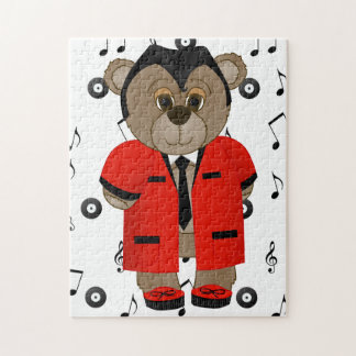 Rockabilly Teddy Boy Cartoon Teddy Bear Jigsaw Puzzle