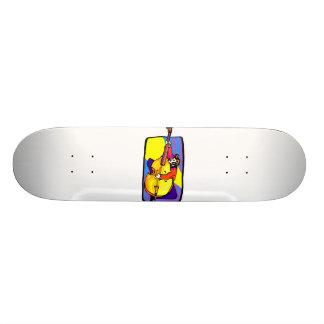 Rockabilly Upright Bass Player Goofing Around Skate Boards
