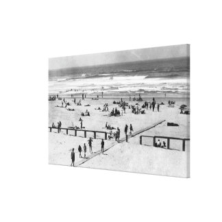 Rockaway, Oregon Beach Scene and Swimmers Canvas Prints