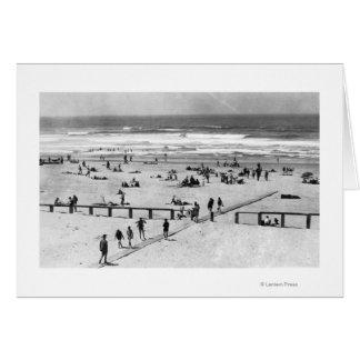 Rockaway, Oregon Beach Scene and Swimmers Greeting Card