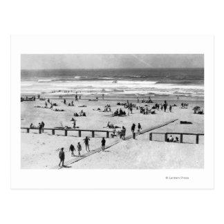 Rockaway, Oregon Beach Scene and Swimmers Postcard