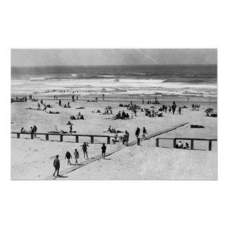 Rockaway, Oregon Beach Scene and Swimmers Poster