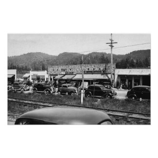 Rockaway, Oregon Main Business Section Print