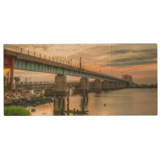 Rockaway Train Bridge Wood USB 2.0 Flash Drive