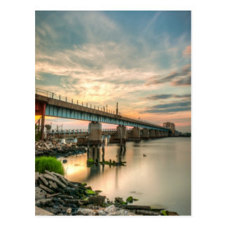 Rockaway Train Bridge Postcard