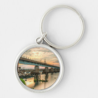 Rockaway Train Bridge Silver-Colored Round Key Ring