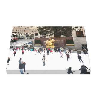 Rockefeller Center Ice Skating Rink Christmas NYC Canvas Print