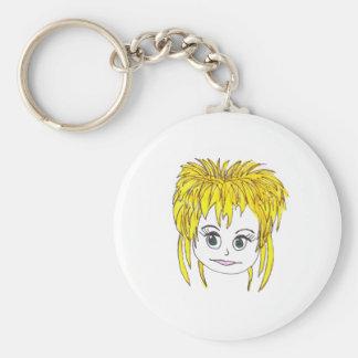 Rocker blonde basic round button key ring
