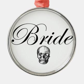 Rocker Bride Goth Skull Christmas Ornament