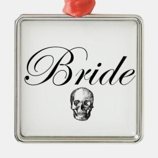 Rocker Bride Goth Skull Silver-Colored Square Decoration