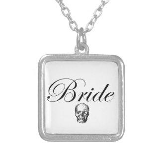 Rocker Bride Goth Skull Silver Plated Necklace