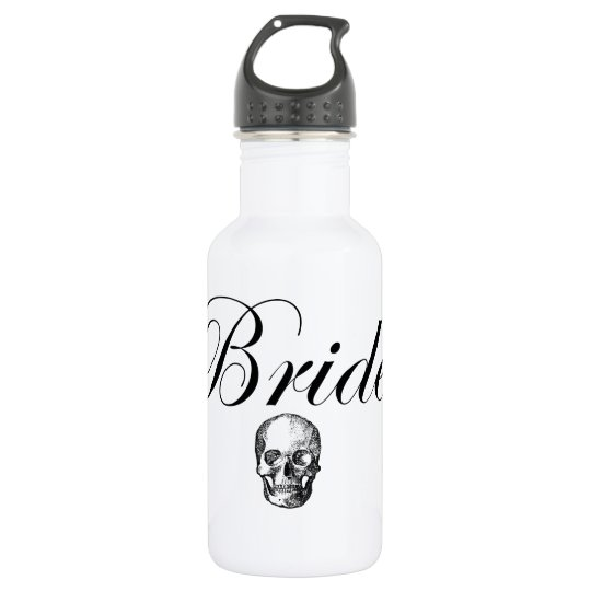 Rocker Bride Goth Skull Water Bottle 532 Ml