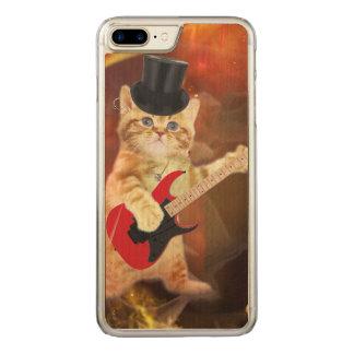 rocker cat in flames carved iPhone 8 plus/7 plus case