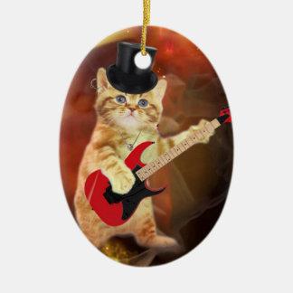 rocker cat in flames christmas ornament