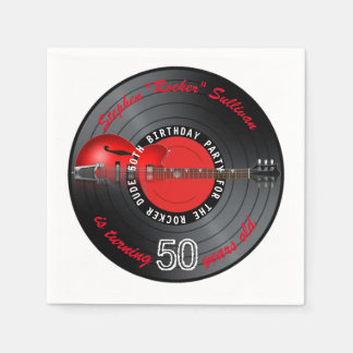 Rocker Dude Guitar Record 50th Birthday Party Disposable Napkins