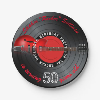 Rocker Dude Guitar Record 50th Birthday Party Paper Plate