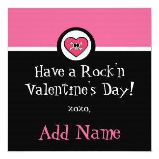 Rocker Girl Funky Valentine 13 Cm X 13 Cm Square Invitation Card