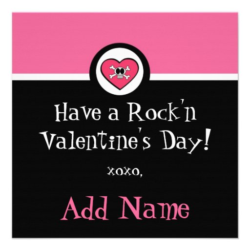 Rocker Girl Funky Valentine Personalized Announcements