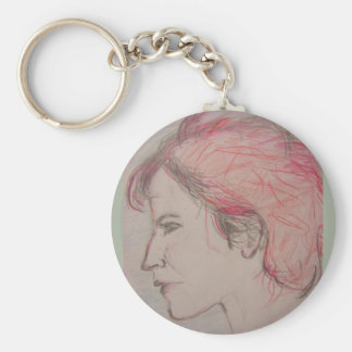 rocker girl portrait basic round button key ring