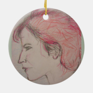 rocker girl portrait round ceramic decoration
