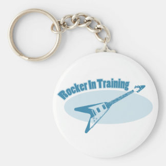 Rocker in Training Basic Round Button Key Ring