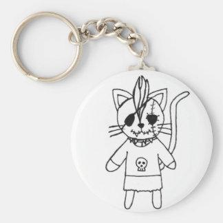 Rocker kitty basic round button key ring