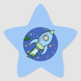Rocket blue green Star Sticker