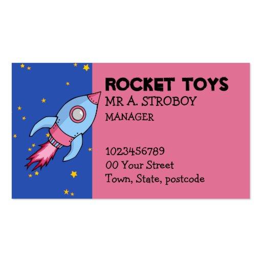 Rocket blue pink Business Card