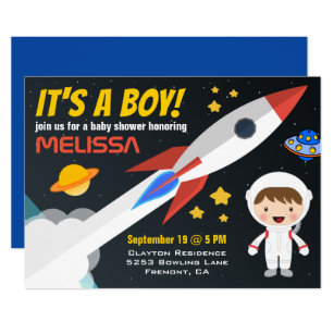 rocket boy outer space baby shower invitation